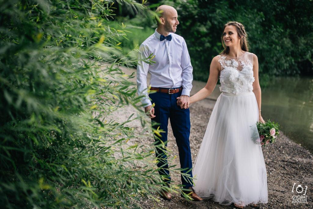 Esküvői kreatív fotózás Szentendrén, a Duna parton
