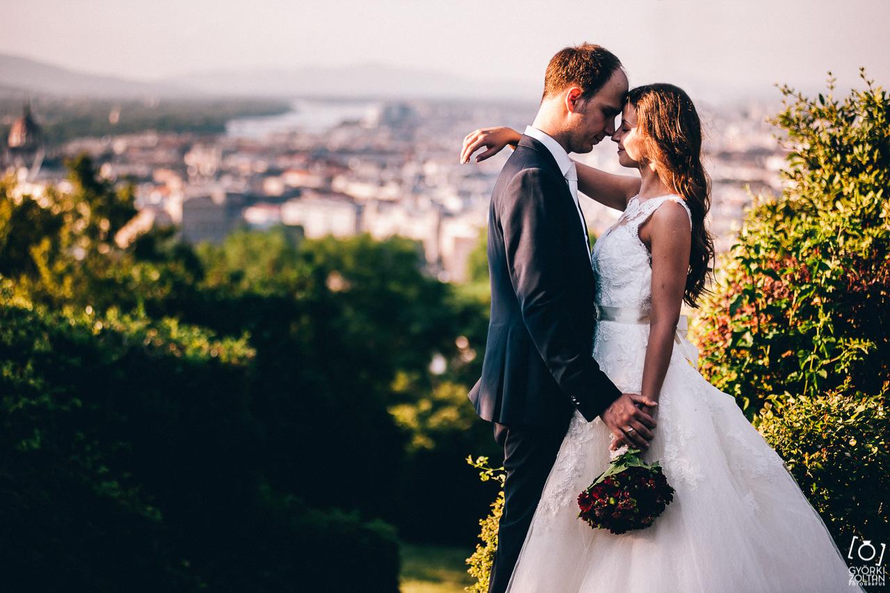 Esküvői kreatív fotózás a Gellért hegyen